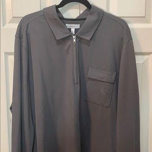 Men's 2XL long sleeve zip collared shirt.